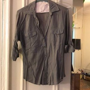 James Perse size 2 grey button down